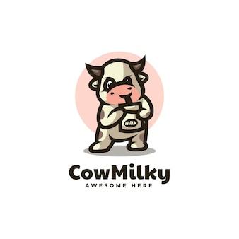Illustration logo vectoriel vache mascotte laiteuse dans style dessin animé