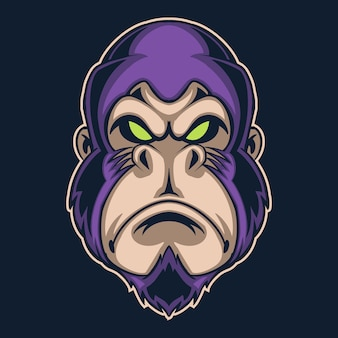 Illustration de logo violet gorille isolée sur noir