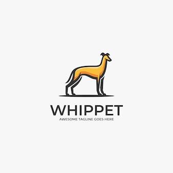 Illustration de logo whippet pose dessin animé mascotte