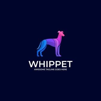 Illustration logo whippet pose gradient coloré