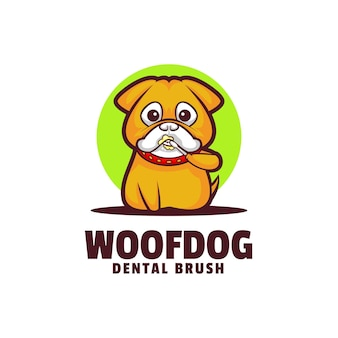 Illustration de logo woof dog mascot cartoon style.