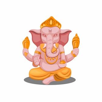 Illustration de lord ganesha ou ganpati figure religion hindoue isolée en fond blanc