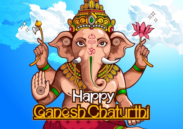 Illustration de lord ganesha de l'inde pour le festival hindou traditionnel, ganesha chaturthi.