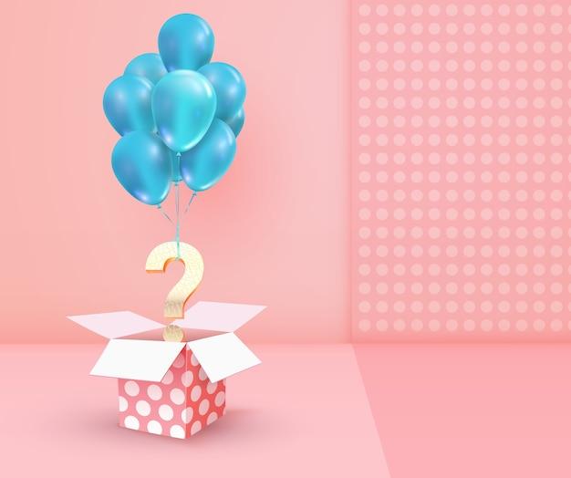 Illustration de loterie de cadeaux gagnants. boîte texturée ouverte avec point d'interrogation doré