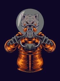 Illustration de loup astronaute