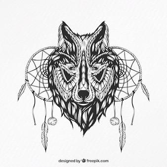 Illustration d'un loup avec des capteurs de rêves