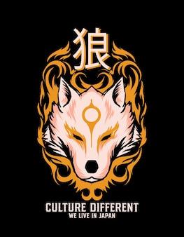 Illustration de loup dans le style japonais
