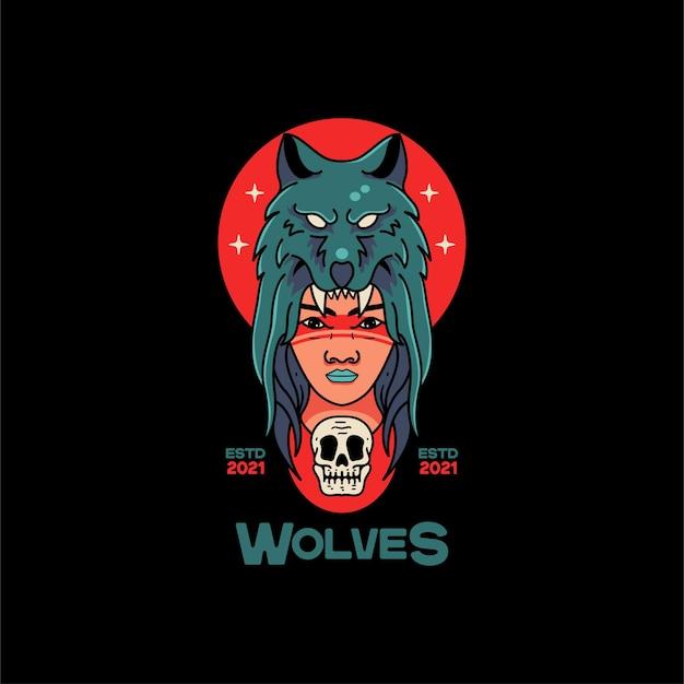 Illustration de loup et de femme
