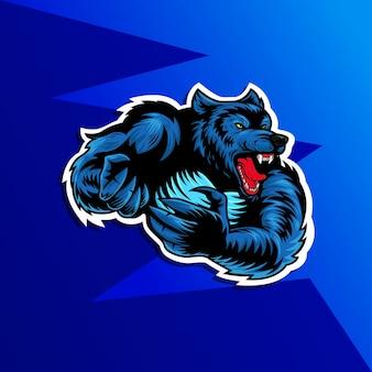 Une illustration d'un loup-garou loup-garou, ou personnage de mascotte de sports de loup