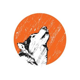 Illustration de loup hurlant