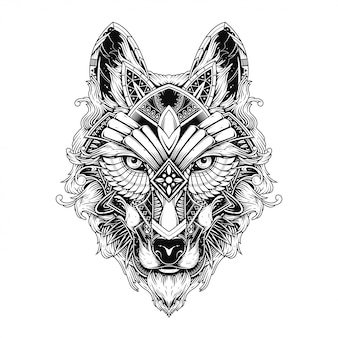 Illustration de loup, tatouage et conception de tshirt