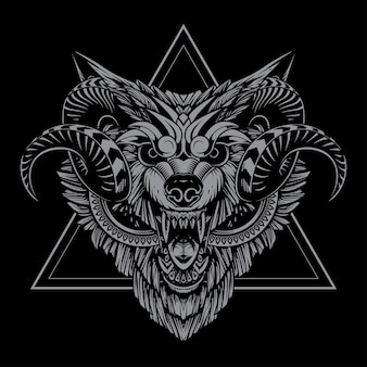 Illustration de loup taureau et conception de t-shirt