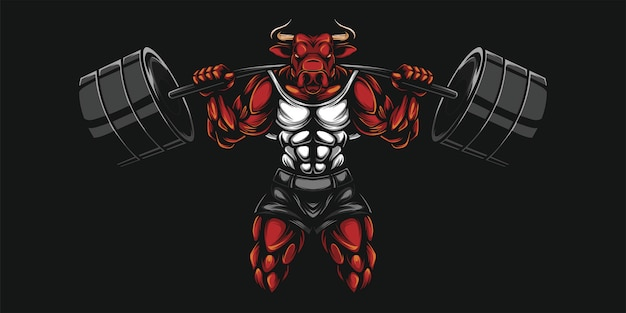 Illustration lourde de buffle et dumbell