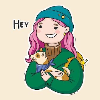 Illustration lumineuse d'une fille avec un chien