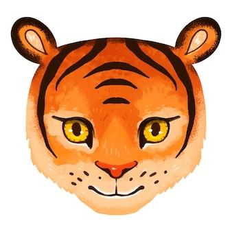 Illustration lumineuse d'un museau de tigre pour les enfants en vecteur