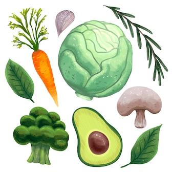 Illustration lumineuse pour une journée végétarienne, légumes frais, chou, carottes, thym, feuilles de basilic, ail, avocat, brocoli, champignons