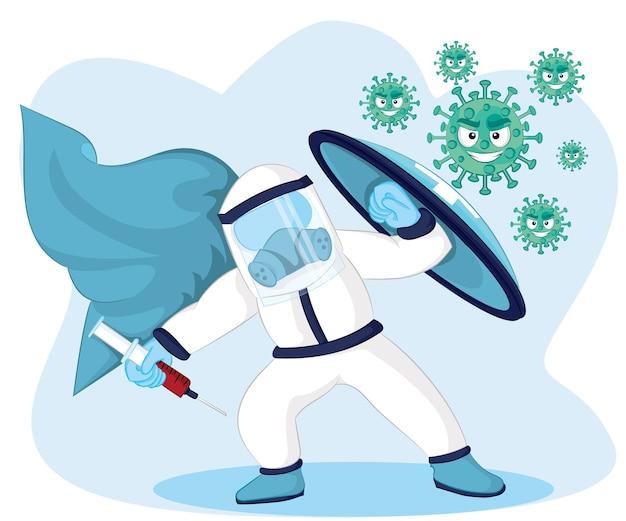 Illustration lutte contre le virus corona. les gens combattent le concept de virus. concept de vaccin contre les virus corona.