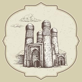 Illustration de madrasa dessinés à la main en ouzbékistan