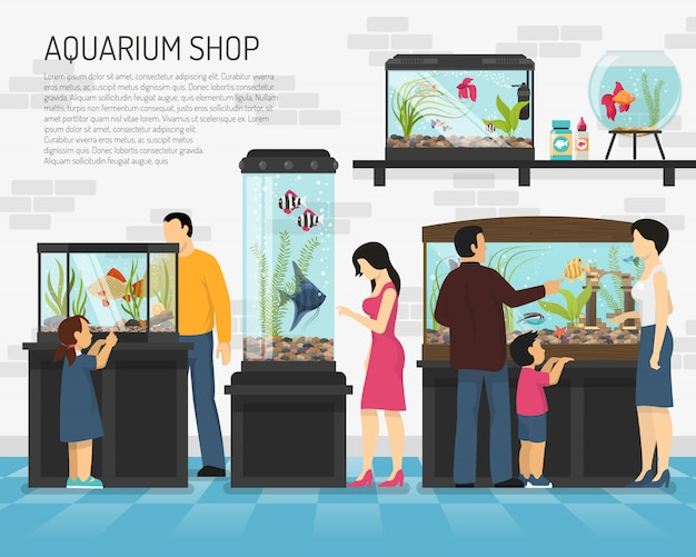 Illustration d'un magasin d'aquarium