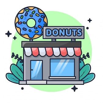 Illustration de magasin de beignets