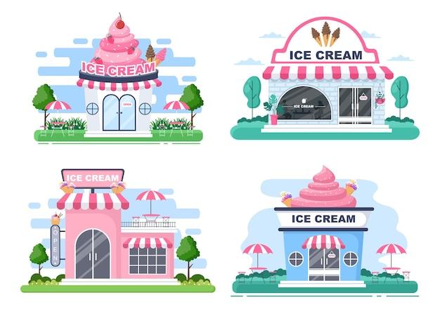 Illustration de magasin de crème glacée avec panneau ouvert, arbre et extérieur de magasin de construction. concept de design plat