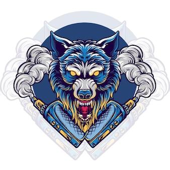 Illustration de magasin de vapotage animal loup