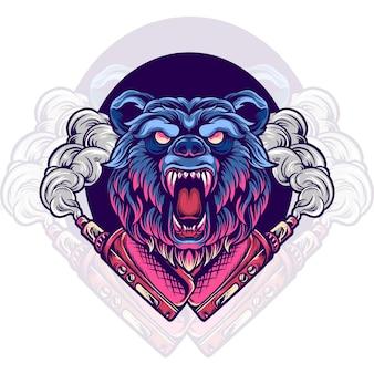 Illustration de magasin de vapotage animal ours