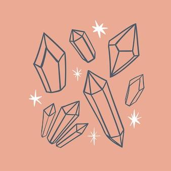 Illustration magique cristaux ou pierres précieuses et étoiles sur fond rose