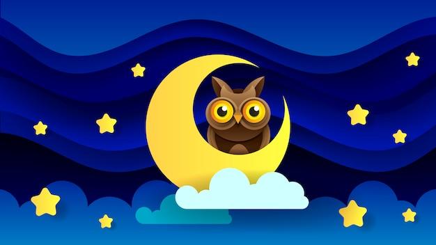 Illustration magique avec la lune et différents éléments de l'espace