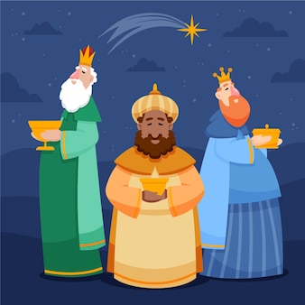 Illustration de magos de reyes dessinés à la main