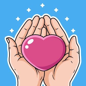 Illustration de la main apporter la bande dessinée d'amour.