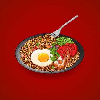 Illustration main dessin vectoriel nouilles avec oeuf, tomate, crevette, concombre, céleri, assiette et une fourchette