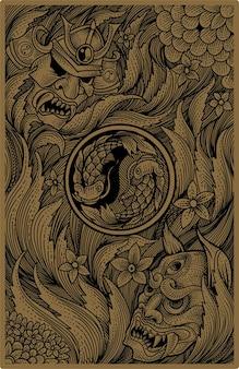 Illustration main dessiner samouraï japonais et masque oni
