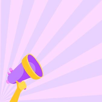 Illustration de la main droite tenant le mégaphone faisant une annonce merveilleusement forte. dessin à la main à l'aide d'un mégaphone produisant une nouvelle grande publicité puissante.
