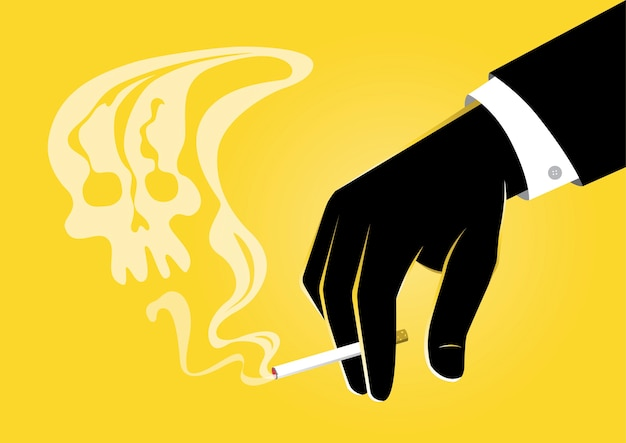 Une illustration de la main d'homme d'affaires tenant une cigarette allumée avec de la fumée ressemblant à un crâne