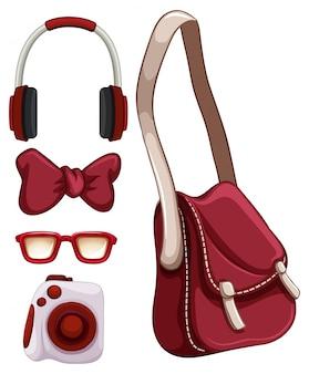 Illustration à main sac et autres objets rouges