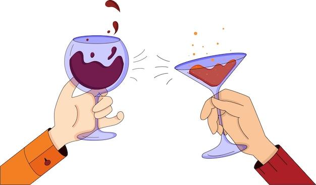 Illustration des mains de célébration avec des verres de vin et de champagne acclamations et boire de l'alcool
