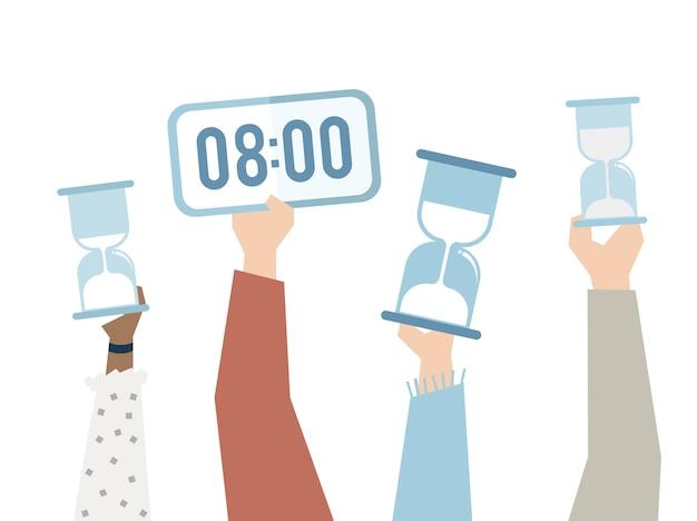 Illustration des mains avec la gestion du temps