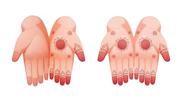 Illustration des mains de mariée indienne
