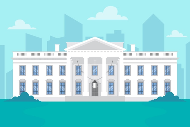 Illustration de la maison blanche au design plat