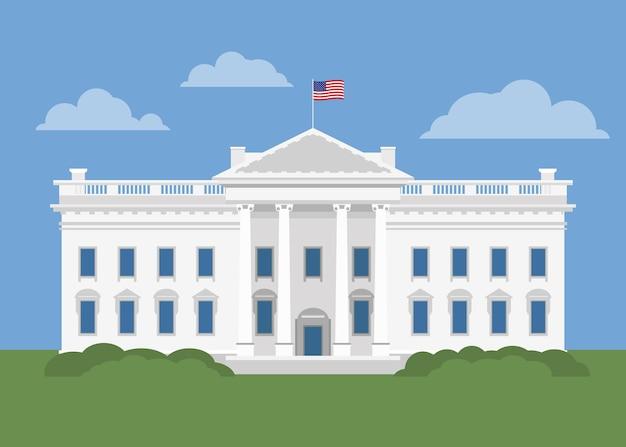 Illustration de la maison blanche plate