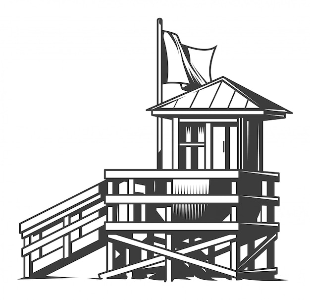Illustration de la maison du club de surf