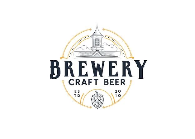 Illustration de la maison du logo de la bière artisanale de la brasserie