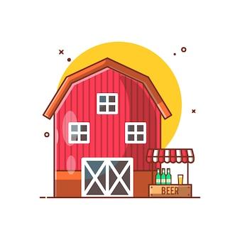 Illustration de la maison de la grange et de la bière