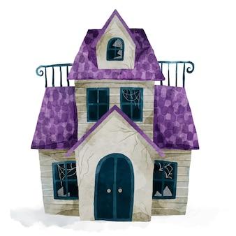 Illustration de maison halloween aquarelle