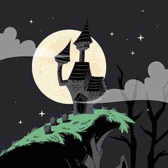Illustration de maison d'halloween dessinée à la main