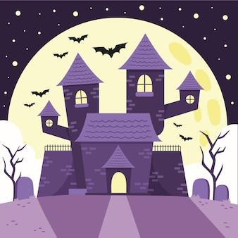 Illustration de maison halloween plat dessiné à la main