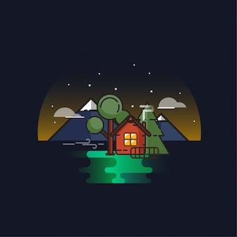 Illustration de la maison de nuit