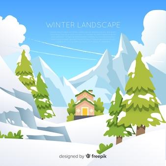 Illustration de la maison par les montagnes