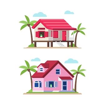 Illustration de maison de plage dans un style plat